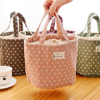 韓系 可愛棉麻點點保溫便當袋 束口鋁膜保溫袋 野餐袋 萬用包 收納袋【N201443】
