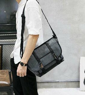FINDSENSEZ1韓國時尚潮男休閒帆布防水耐磨單肩包側背包斜背包