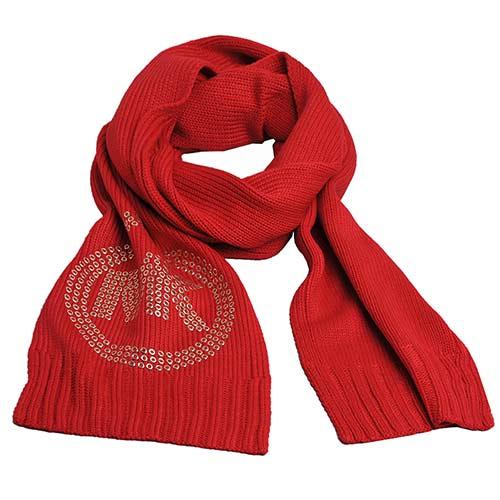MICHAEL KORS 經典鉚釘字母MK LOGO圖騰保暖長圍巾(紅)