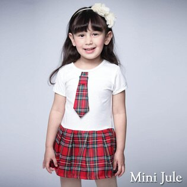 《MiniJule童裝》洋裝學院風格紋領帶短袖洋裝(紅)