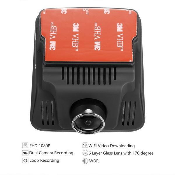 HD Wifi Dash Cam Dual Camera Dashcam 170 Angle Car Dash Camera Driving Recorder with Loop Recording G-Sensor 5