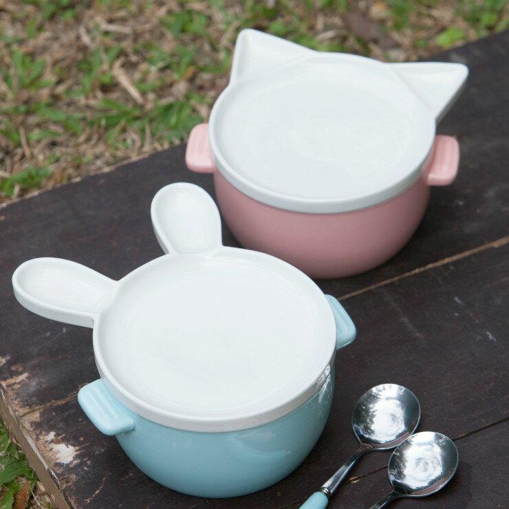 日式陶瓷可愛動物泡麵碗 / 雙耳有蓋湯碗飯碗+餐具 套裝/ 送禮/小資女/搬家/廚房用具/泡麵