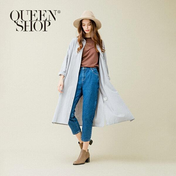 Queen Shop【01022668】側開衩棉麻長版襯衫 兩色售*預購*