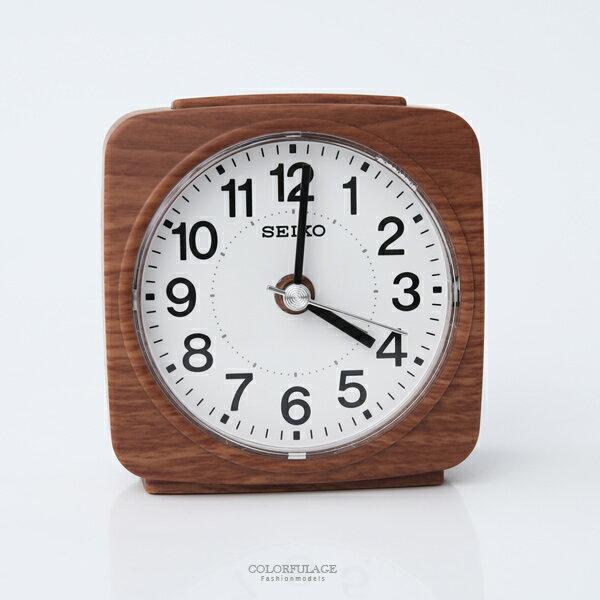 鬧鐘SEIKO仿木紋方形鬧鐘柒彩年代【NV57】原廠公司貨