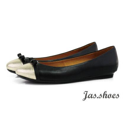 JASSHOES【JB0421】義大利進口綿羊皮 羊皮 氣質 紋路 蝴蝶結 鞋頭 撞色 拼接 限量 公主鞋 低跟鞋 娃娃鞋 -香檳金黑綿羊【限量】
