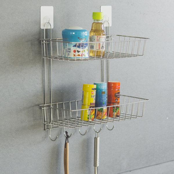 送無痕單勾-不鏽鋼多功能二層架附勾 MIT台灣製 完美主義 置物架 沐浴罐架【E0018】