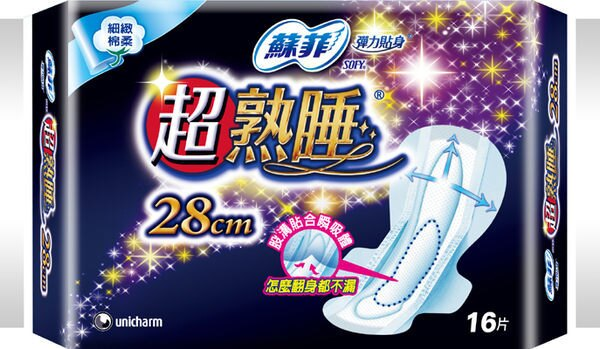 蘇菲 彈力貼身 超熟睡 夜用 28cm (16pX2包)/組