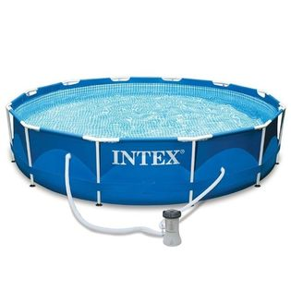 【美國INTEX】戲水系列-12尺金屬框架池(含抽水泵)28211