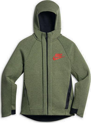 NIKE Sportswear Tech Fleece 童裝 大童 外套 連帽外套 棉質 軍綠【運動世界】832562-387