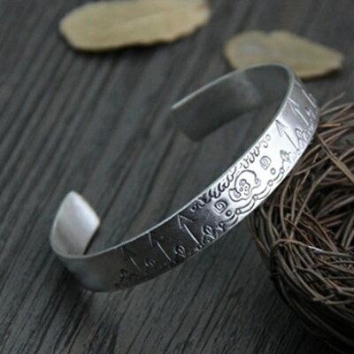純銀手環 復古泰銀手鍊 ~ 氣質開口生日情人節 女飾品73gg115~ ~~米蘭 ~