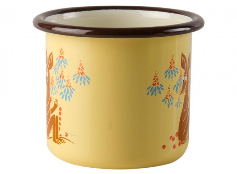 【芬蘭Muurla】嚕嚕米系列-復古史尼夫琺瑯馬克杯250cc(黃色)咖啡杯/琺瑯杯