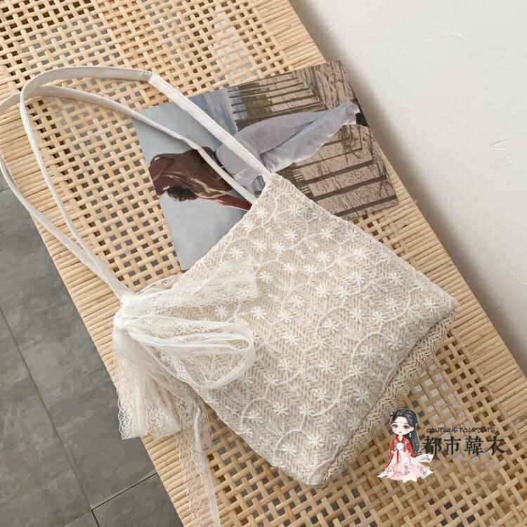 編織包 女包2020夏季新款韓版蕾絲草編包洋氣百搭大容量編織水桶包單肩包