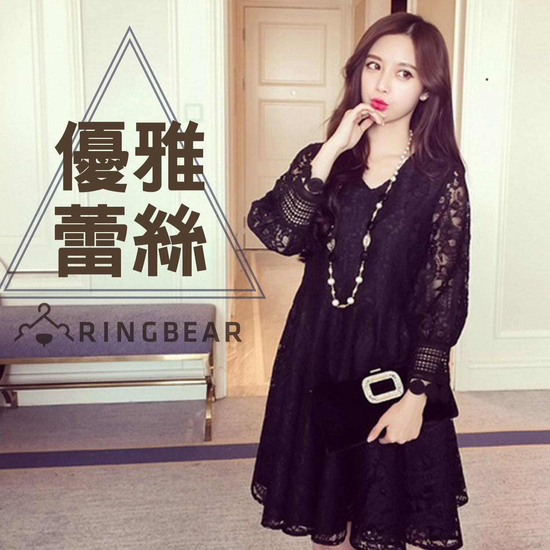 長袖洋裝--典雅時光縷空蕾絲空花復古質感透膚袖連身裙(黑L-3L)-A307眼圈熊中大尺碼 0