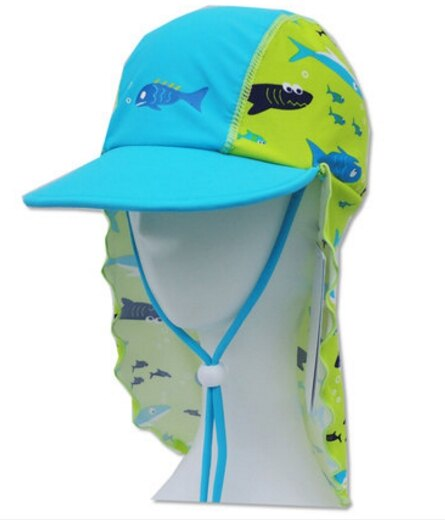 夏季兒童帽子護頸防曬沙灘帽男童寶寶防曬游泳帽-魚款