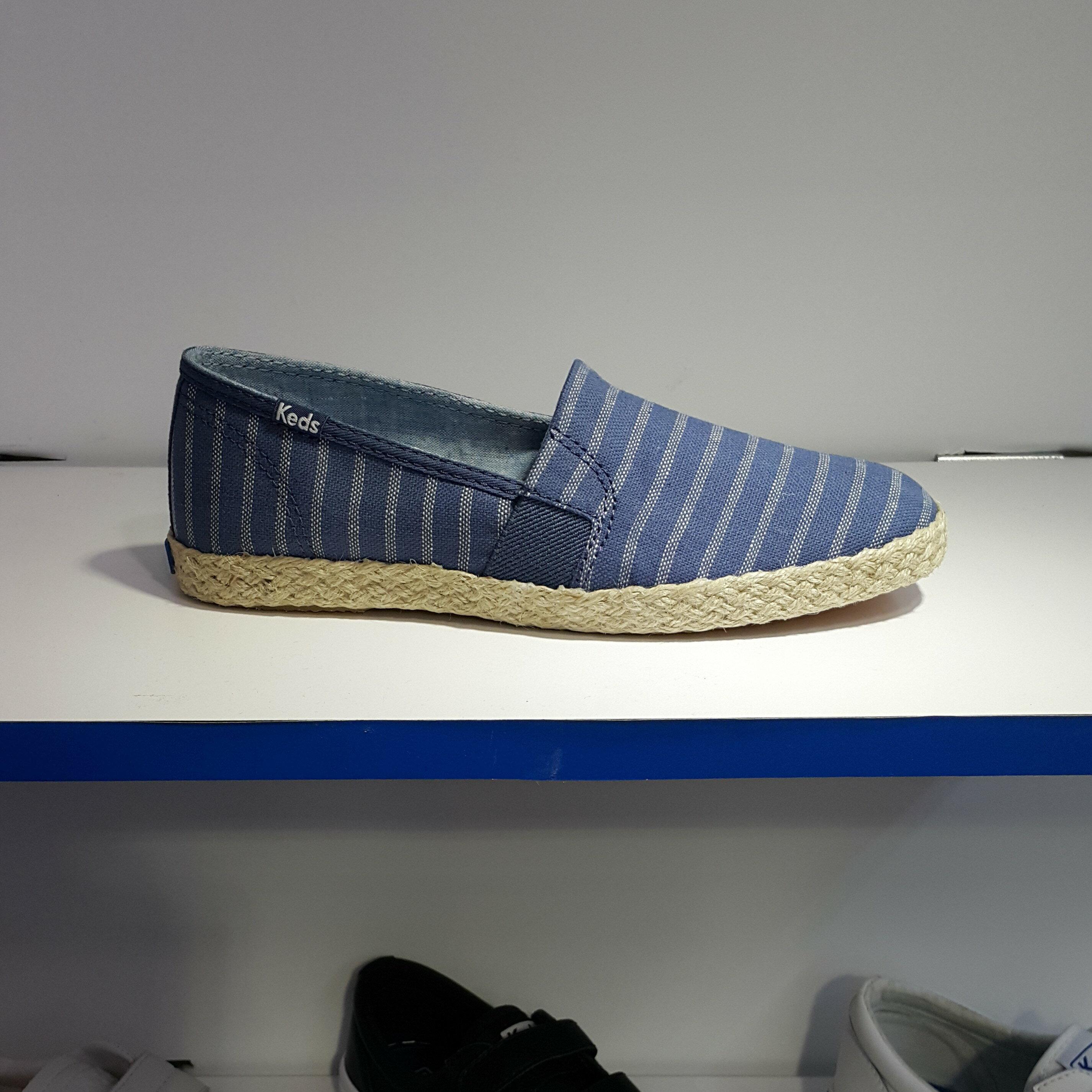 Keds 懶人鞋 麻繩 麻編 草繩 草編 藍色 鬆緊帶 條紋 方便舒適 可拆式鞋墊 CHILLAX A-LINE STRIPE/JUTE