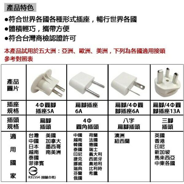 KINYO J-05 國際電源轉接插頭組/多國插頭轉接