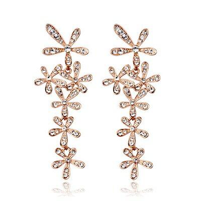 玫瑰金耳環925純銀鑲鑽耳飾~高貴華麗精緻閃耀生日情人節 女飾品73gs58~ ~~米蘭