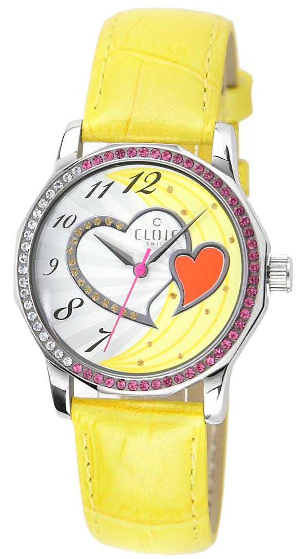 CLOIE 圓形晶鑽女腕錶 黃色/34mm CL10175-MX13