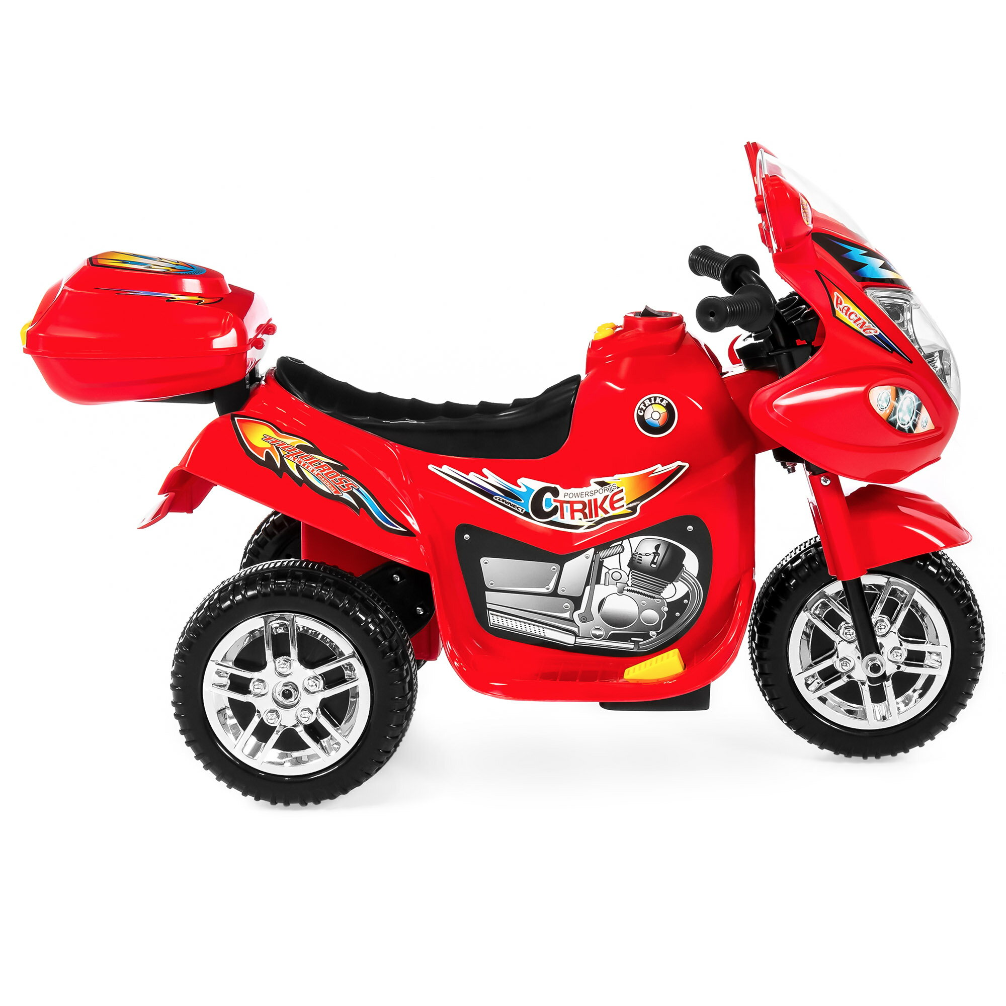 Best Choice Products 6V Kids Battery Powered 3-Wheel Motorcycle Ride-On Toy w/ LED Lights, Music, Horn, Storage - Red 2