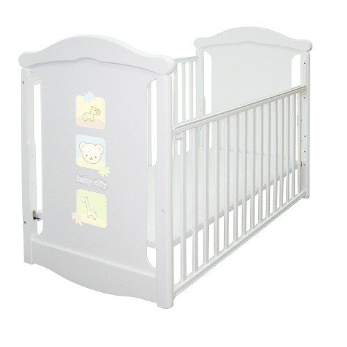 【Baby City娃娃城】動物熊搖擺中大床+床墊-白色