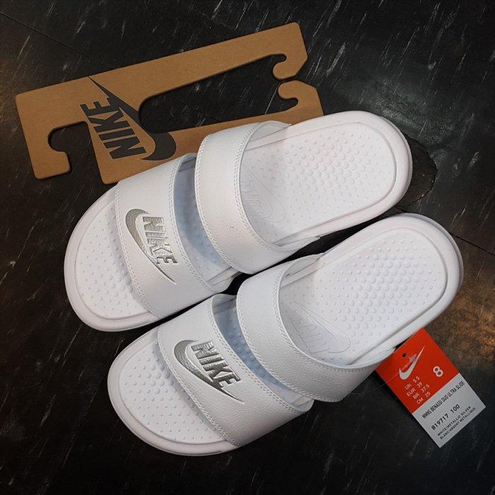 NIKE BENASSI DUO ULTRA SLIDE 涼鞋 拖鞋 雙帶 白色 全白 白銀 819717-100