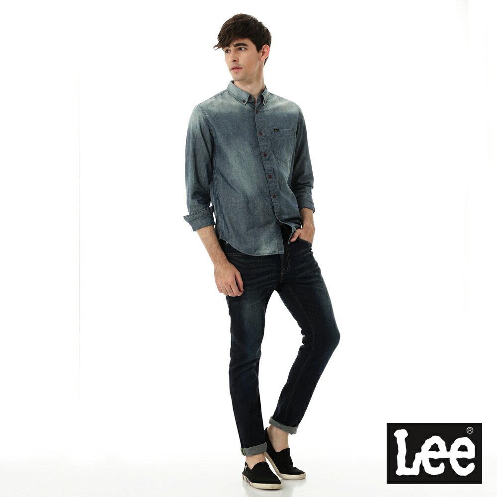 Lee 牛仔襯衫 棉點竹節深淺漸層 -男款-中古淺藍 5