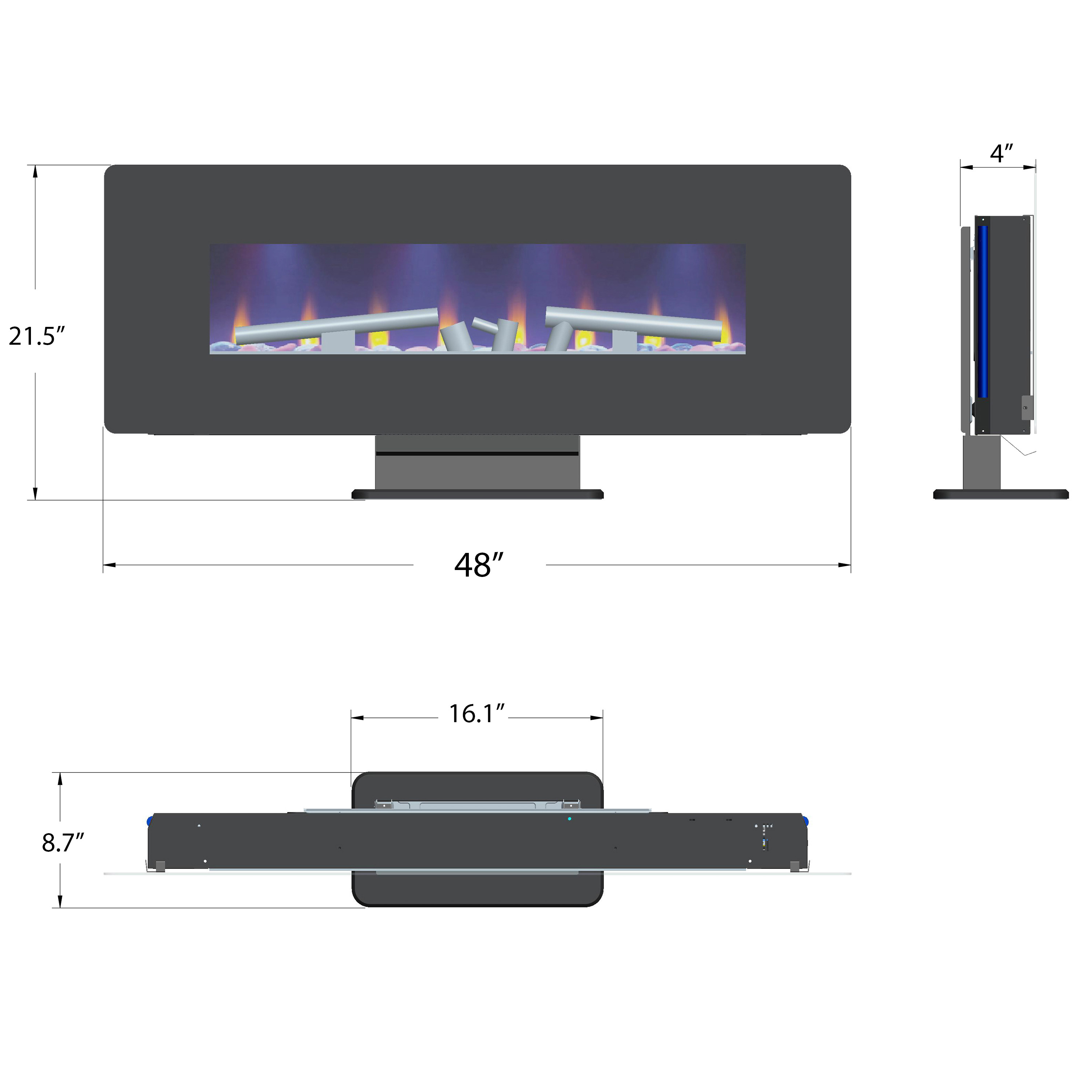 """AKDY 48"""" Freestanding Wall Mount Convertible Electric Fireplace Heater Stove 1"""