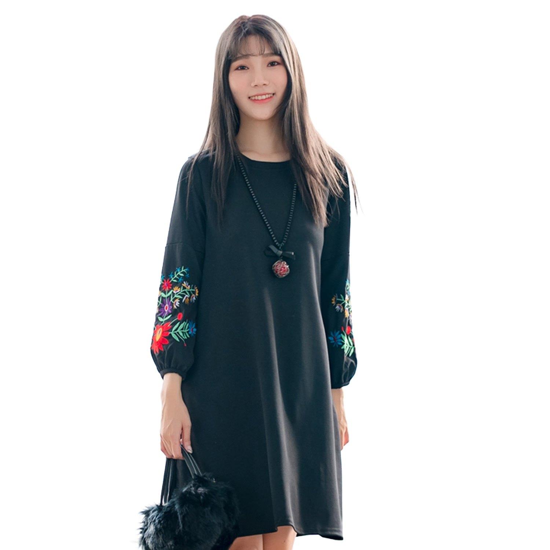 氣質洋裝--優雅精緻花草刺繡A字寬鬆修身顯瘦圓領長袖連衣裙(黑L-2L)-A346眼圈熊中大尺碼 0