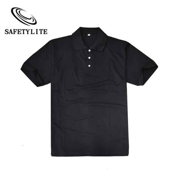 Safetylite:黑色素面立領三扣短袖大尺碼POLO衫★Safetylite★滿699送潮T★滿899免運★滿萬送商務包