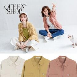 Queen Shop【01023355】口袋衣標設計素面斜紋襯衫 三色售*現+預*
