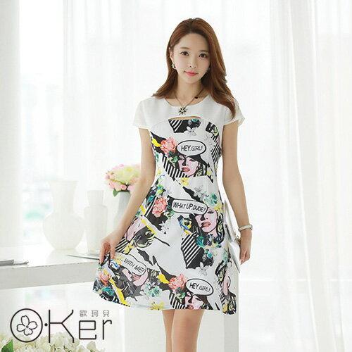 韓國原單美式風格抽像印花連衣裙O-Ker歐珂兒VE1149-c