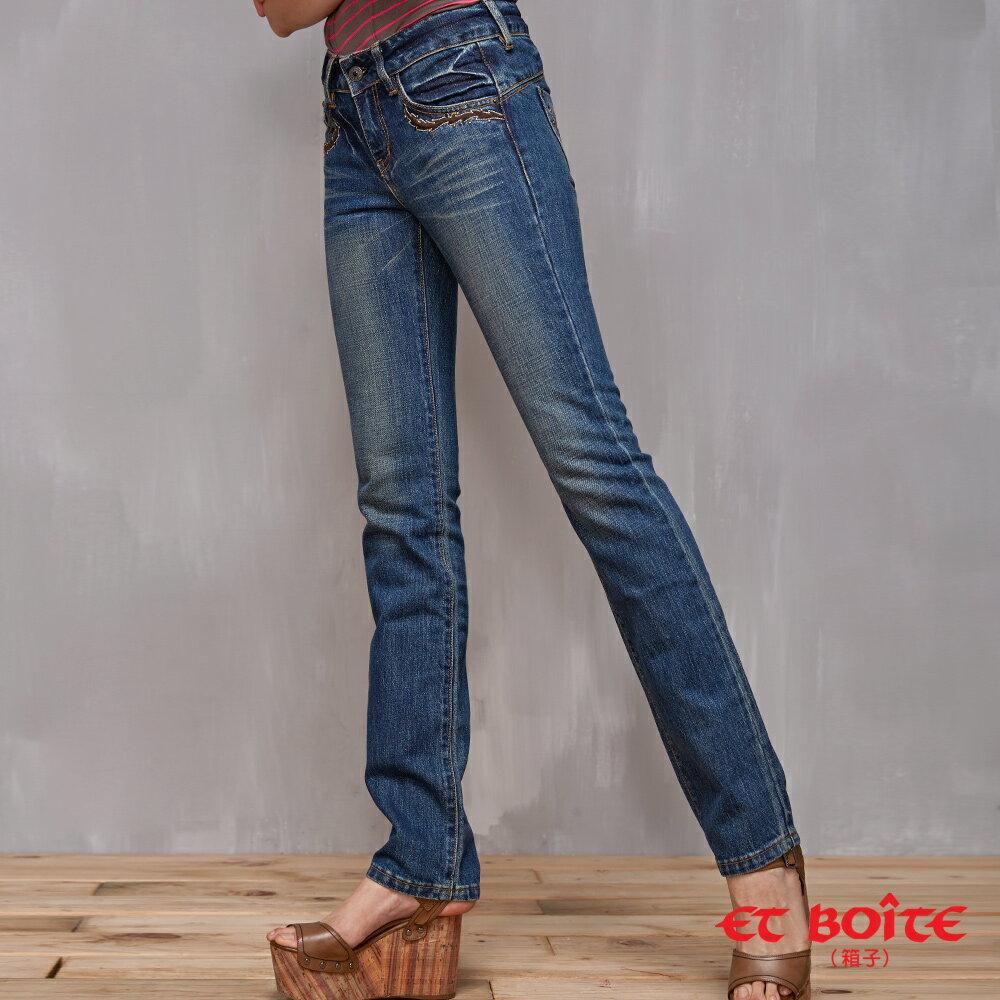【經典丹寧限時↘990】LeJean繡花鉚釘顯瘦直筒牛仔褲 BLUE WAY  ET BOiTE 箱子 2