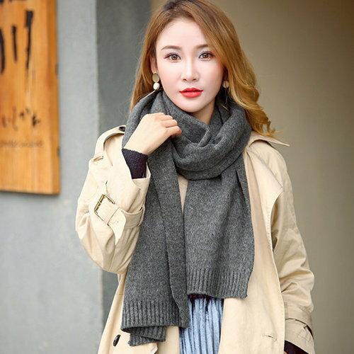BOBI:圍巾素色仿羊絨拼接毛線針織保暖圍巾【CE002】BOBI1228