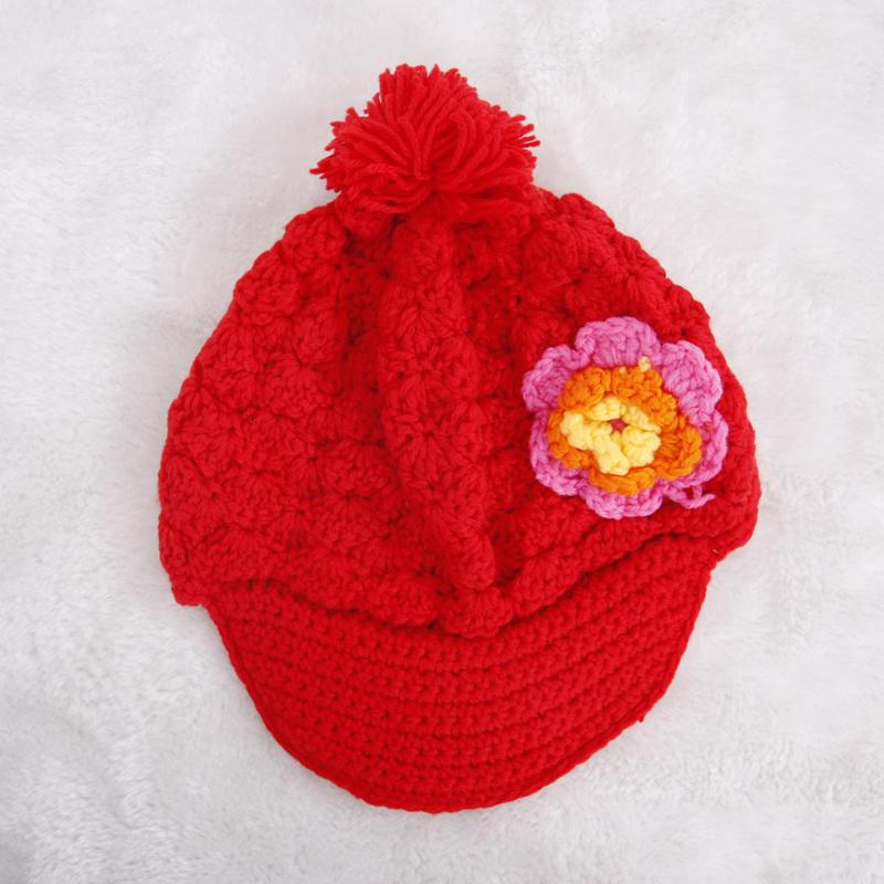 清倉可愛女童手工花朵毛線檐邊帽 兒童帽子 中大童毛線帽子1入
