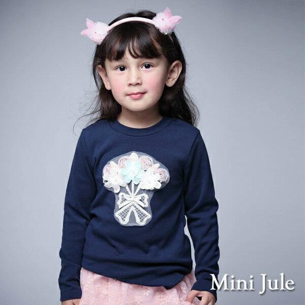 Azio Kids美國派:《MiniJule童裝》上衣立體花束造型長袖棉T(寶藍)