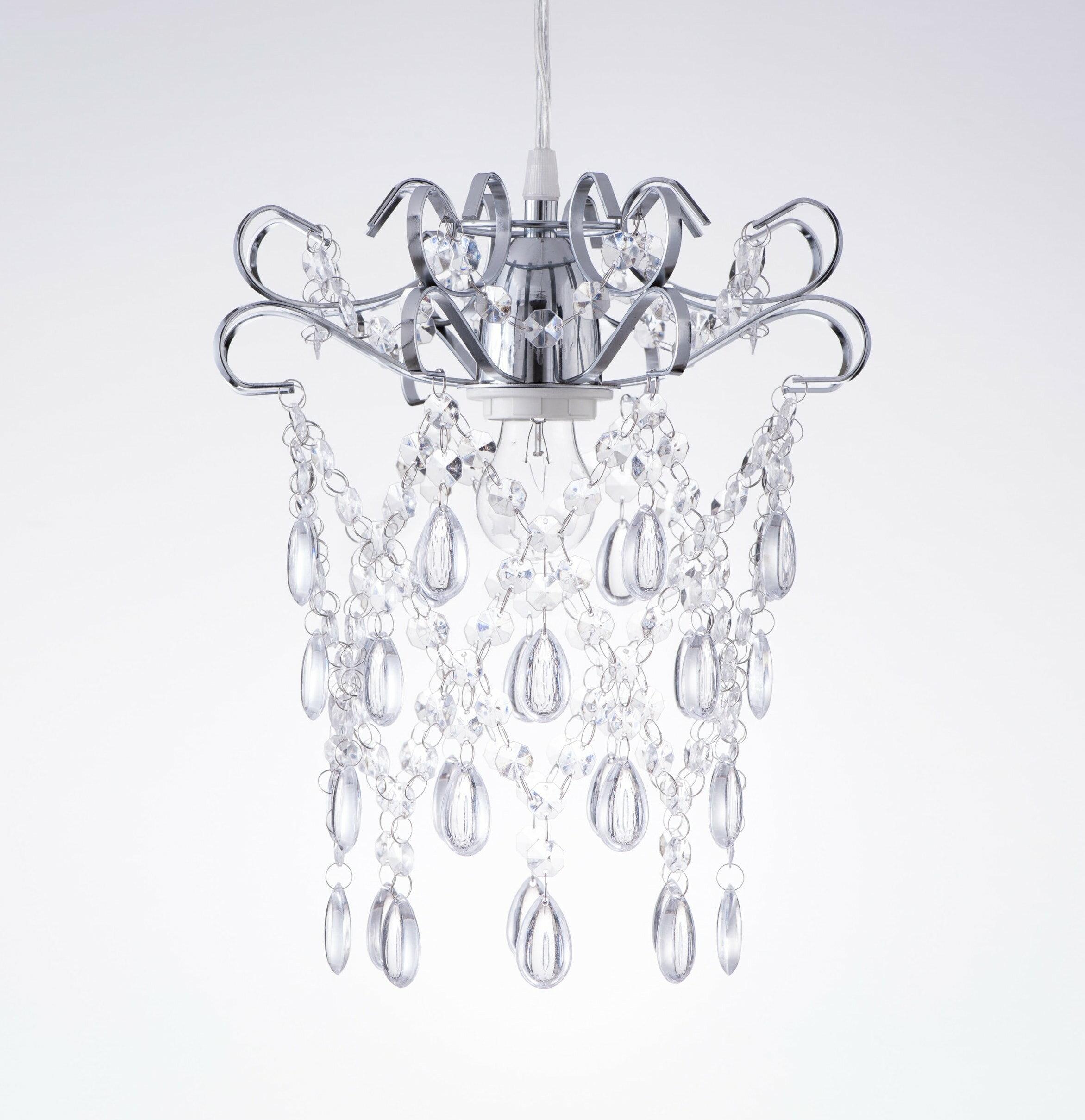 鍍鉻扁鐵框透明壓克力珠吊燈-BNL00048 0