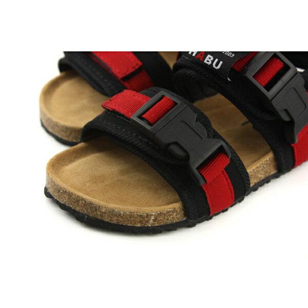 小男生鞋 涼鞋 魔鬼氈 紅 / 黑 童鞋 RR34B-RD no006 3