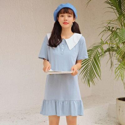 連身裙娃娃領上衣-時尚清新甜美魚尾女連衣裙2色73rx40【獨家進口】【米蘭精品】