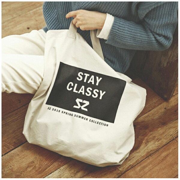 77美妝:簡約純色字母帆布包《StayClassy》