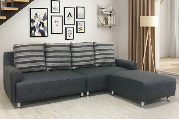 !新生活家具!《金鑽方塊》皮沙發鐵灰色L型沙發四人位沙發+腳椅防貓抓簡約現代