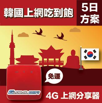 GLOBAL WiFi 亞洲行動上網分享器 韓國 吃到飽 4G  5天方案