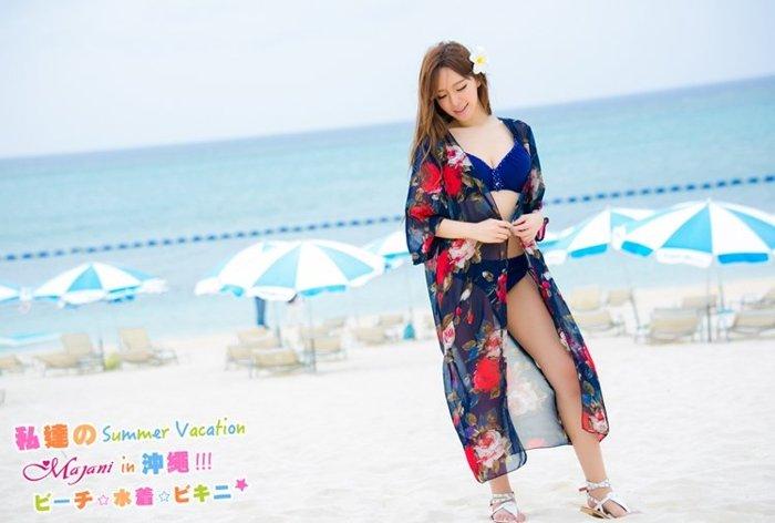 [瑪嘉妮Majani] 日系中大尺碼泳衣泳裝配件-大尺碼 超寬鬆 比基尼外罩衫 特349 bs-177