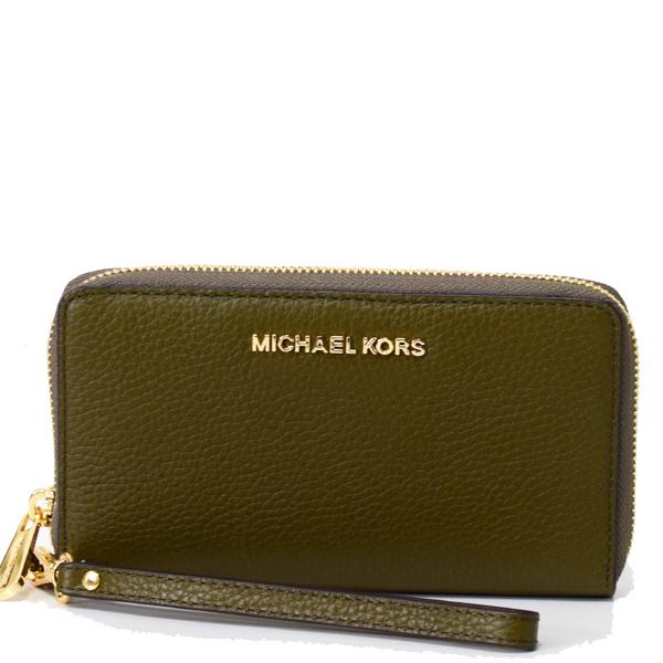 MICHAEL KORS 手機包 皮夾 手拿包 荔枝紋真皮 卡片夾 手機包 皮夾 手拿包 M96117 綠色MK(現貨)