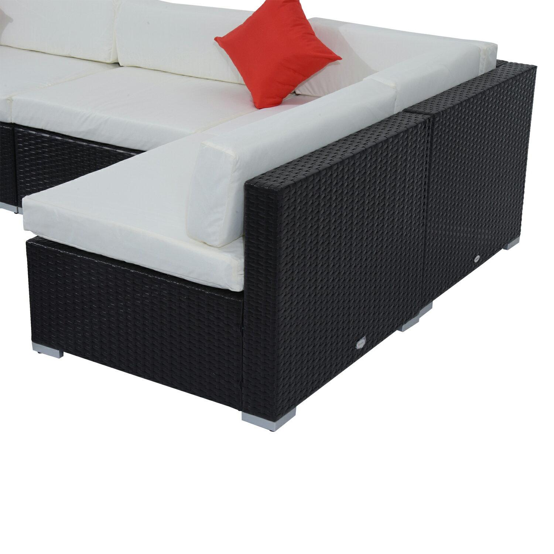 Outsunny 7 Piece Outdoor Patio Rattan Wicker Sofa Sectional Set - Cream 5