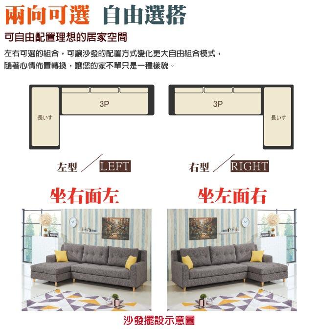 【綠家居】馬卡漢 簡約灰亞麻布L型沙發組合(左&右二向可選)