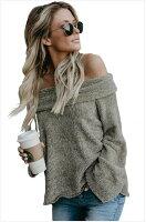 歐美新款女裝 純色套頭露肩一字領長袖寬版針織毛衣上衣 3色 27941-MoMo性感服飾泳裝專賣店-流行女裝推薦