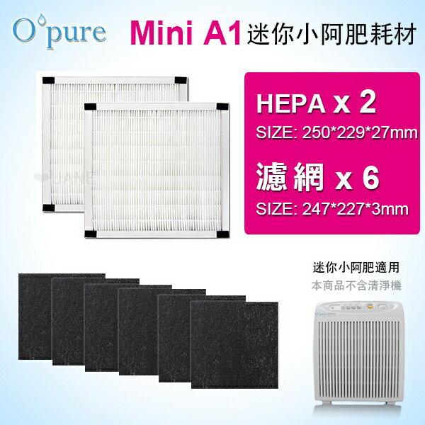 濾網組【HEPA濾網*2+活性碳濾網*6】適用機型A1mini空氣清淨機