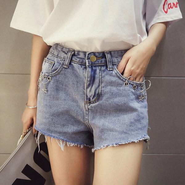 FINDSENSE服飾:FINDSENSEG5韓國時尚顯瘦學生毛邊牛仔褲短褲百搭休閒熱褲
