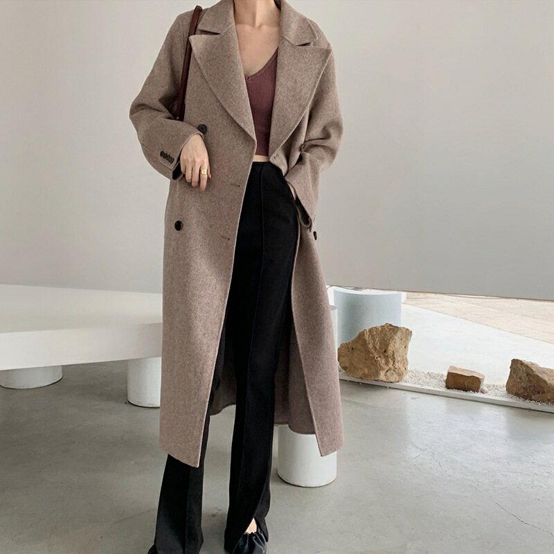 毛呢大衣羊毛外套-長版純色雙排扣翻領女外套3色73wb2【獨家進口】【米蘭精品】 1