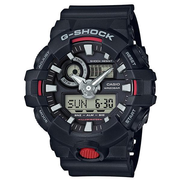 CASIO G-SHOCK GA-700-1A仿金屬質感雙顯腕錶/53.4mm